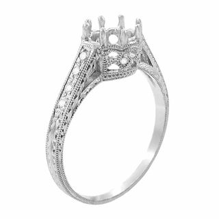 Royal Crown 1/2 Carat Antique Style Engraved 18 Karat White Gold Engagement Ring Setting - Unique Hand crafted Ring Mount for a 5.5mm round diamond. - http://www.antiquejewelrymall.com/r460w50.html