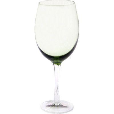 Certified International Glass Stemware Olive Green White Wine Glasses (Set of 4)