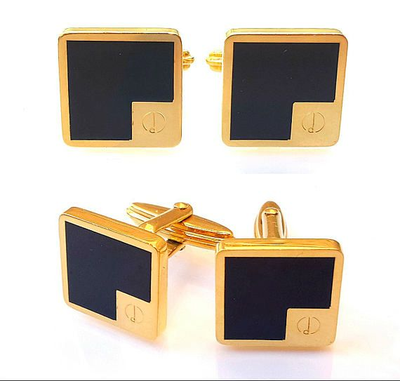 Vintage Alfred Dunhill Mens Cufflinks Gold Plated Black Onyx