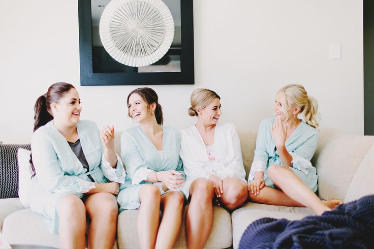 Tiffany & Co. Inspired bridal party dressing gowns add a classy touch for the wedding morning. www.summerdean.com.au