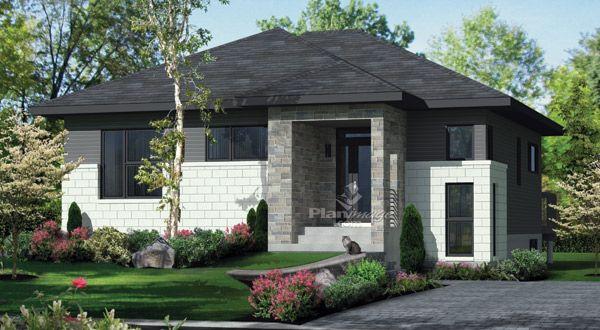 Planimage cette maison de plain pied au rev tement de pierres et d aluminium de style ultra - Style de maison moderne plain pied ...