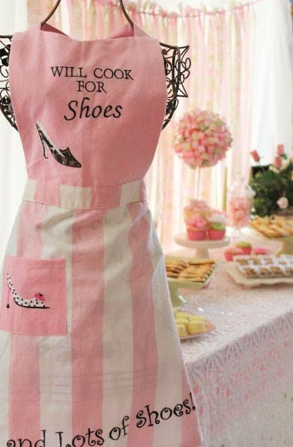 Cute pink apron and what woman doesn't love shoes!