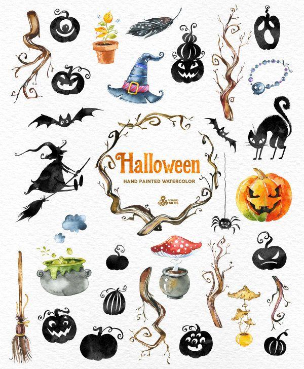 Halloween. 34 Watercolor Elements handpainted от OctopusArtis