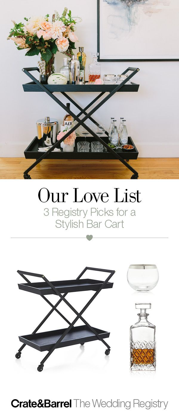 Thinking about all the parties you'll throw together? Our friends at 100 Layer Cake stocked and styled this bar cart with plenty of retro glamour. So raise a glass to swank and swagger, aka our etched Hatch or platinum-rimmed Pryce glasses. Cheers. Add them to your registry, ASAPity.