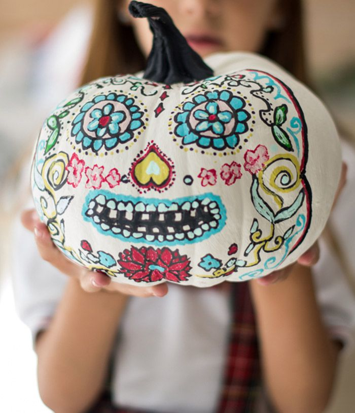 halloween, calabaza, calavera mexicana, chalk paint. pumpkin. Hadas y Cuscus