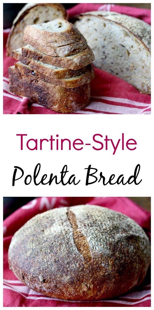 Tartine-Style Sourdough Rosemary Polenta Bread