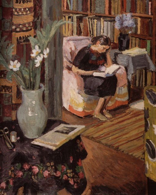 Interior with the Artist's Daughter, ca 1935-1936, Duncan Grant.  (Why are there so many paintings of people reading that I've never seen?)