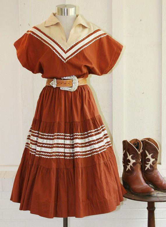 Little Annie Oakley   Circa 1960u0027s   Patio Dress   Squaw Dress   Rockabilly    By Western Fashions