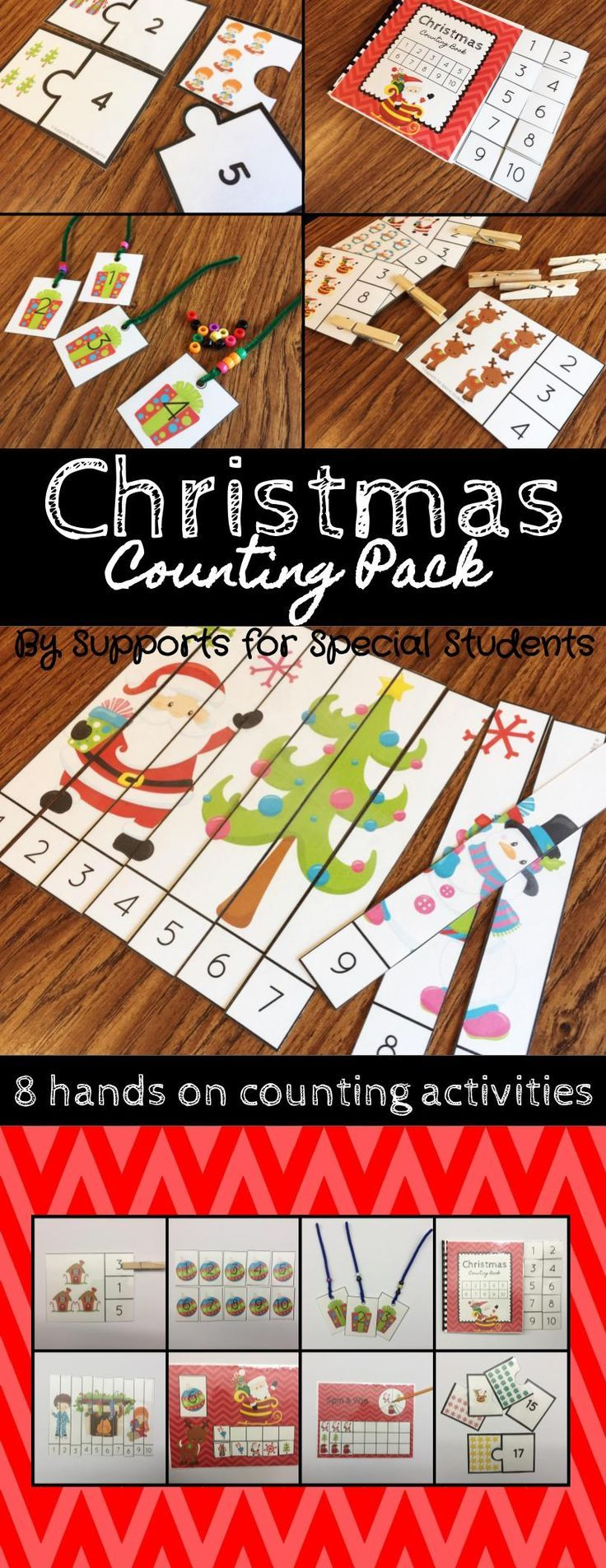 This Christmas counting pack is perfect for preschool, kindergarten or a special education classroom. There are 8 hands on activities that focus on numbers 1-20 included in this pack. These activities can be used during 1:1 and small group instruction, as well as independent practice. By Supports for Special Students