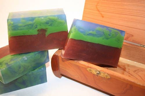 """""""The Planets"""" series of handmade soaps by tcmatteson on craftster.com. This one is """"Earth"""". I love all of the planets!"""