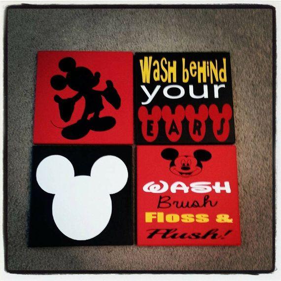 Mickey Mouse Bathroom Decor by Stickemupvinylbyjess on Etsy, $45.00