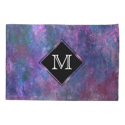 #Explosive Bed | Monogram Purple Blue Pink Green Pillow Case - #Pillowcases #Pillowcase #Home #Bed #Bedding #Living