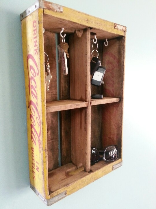 Coke crate turned key holder