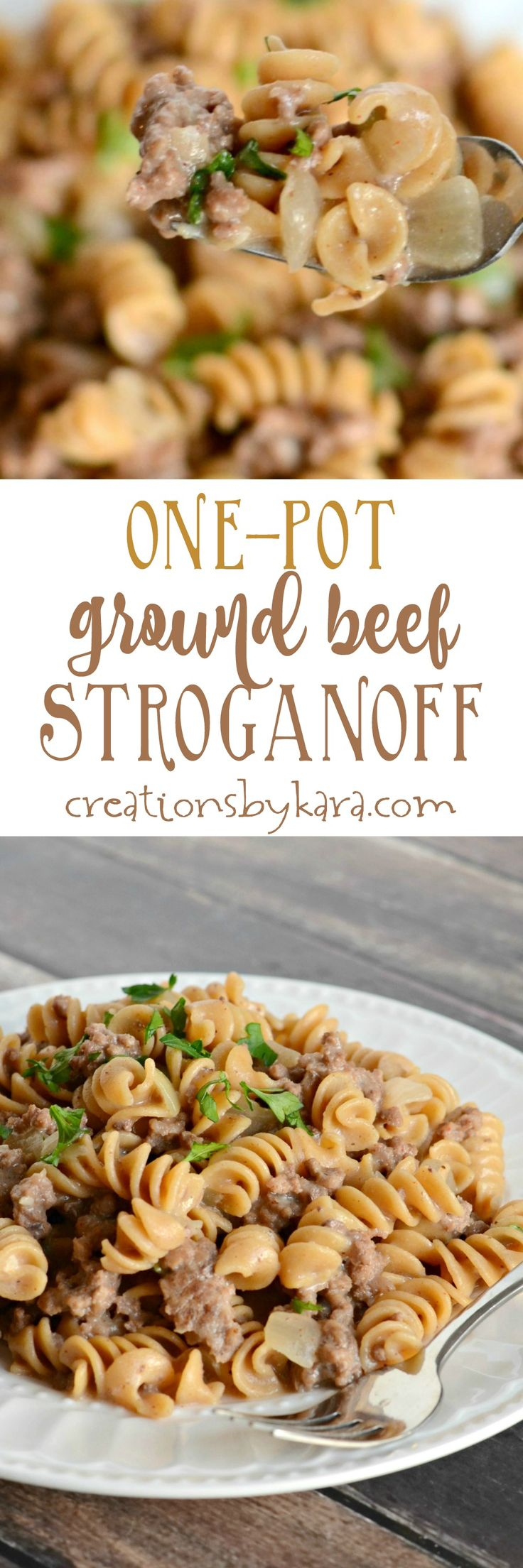 One Pot Ground Beef Stroganoff is a cinch to whip up. And it is hearty and delicious!