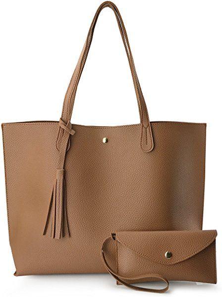4c061497b87 Amazon.com  Minimalist Clean Cut Pebbled Faux Leather Tote Womens Shoulder  Handbag (Black)  Shoes