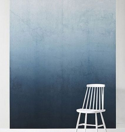 "Ombre wall paint inspiration, on trend for 2016. Love the transition of dark to light blue here, especially how well it contrasts with white furniture. Blue and white work very well together and here's a way of introducing blue without giving screaming ""b"