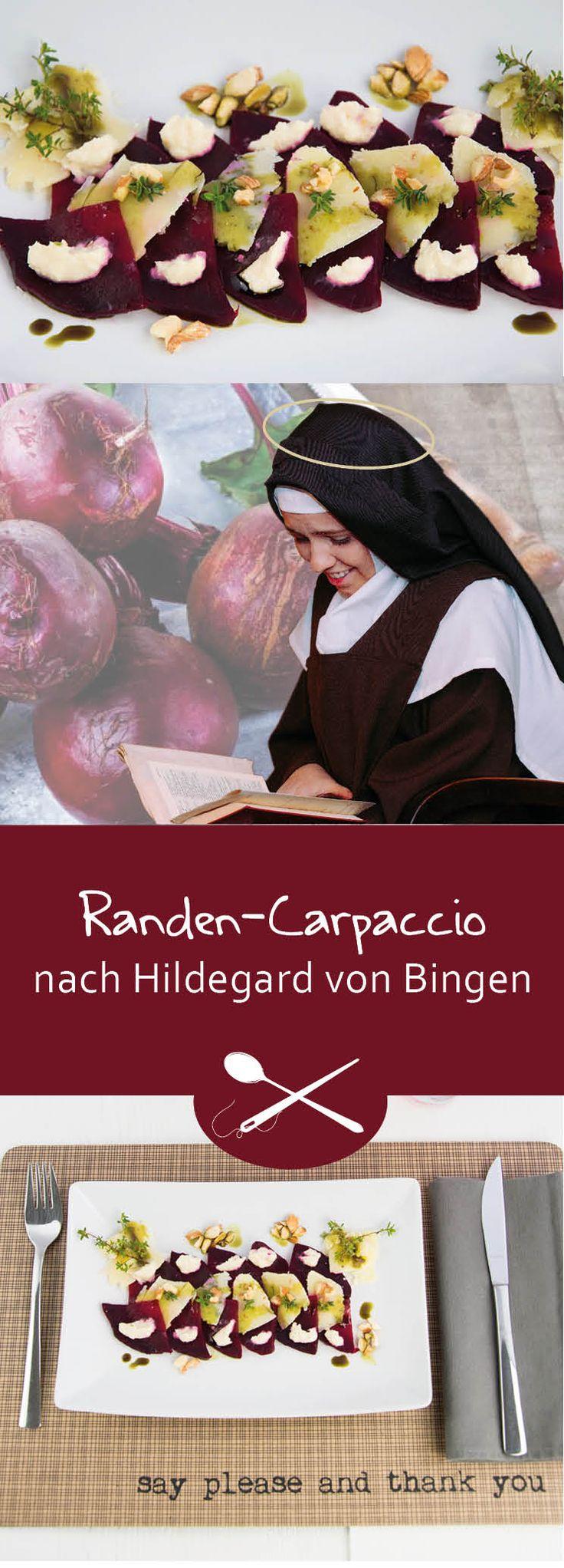 Randen-oder auch rote Beete genannt wird schon in den Schriften der Heiligen Hildegard von Bingen als sehr bekömmlich erwähnt. Ein Carpaccio als Vorspeise oder als kleines Nachtessen, auch für Vegetarier sehr geeignet.