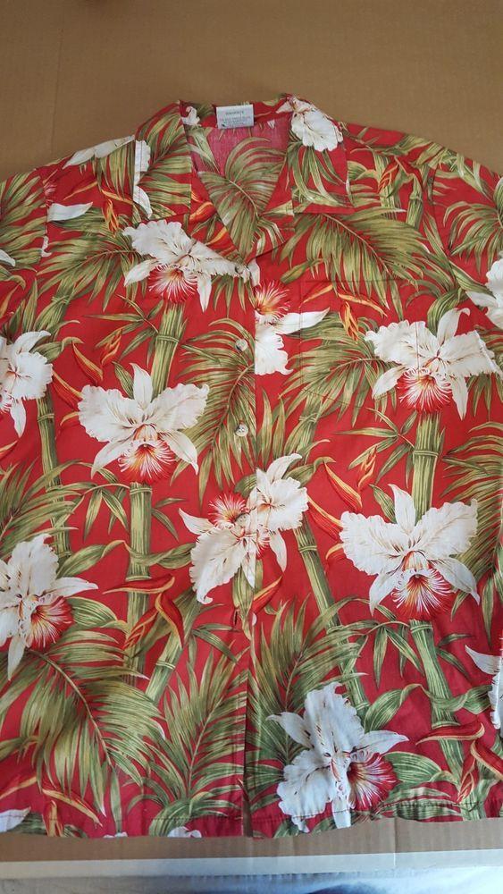 81507f3e Vintage Go Barefoot womens red floral print Hawaiian shirt #Hawaiian # Hawaiian #Casual