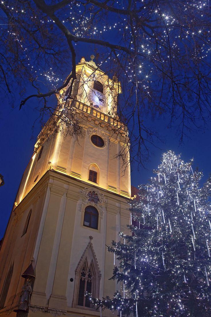 Holiday travel destination: Spend the Christmas season in Bratislava, Slovakia, where festive decorations bring the holiday spirit to life.