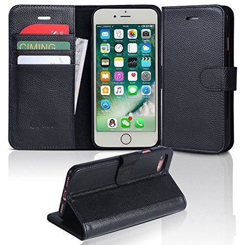 iPhone 7 Case Genuine Leather Black For iPhone 7 Wallet Type Case Flip Cover NEW #Ara