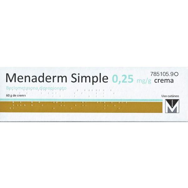 MENADERM SIMPLE Crema. 0,025%    Formas agudas de dermatitis de contacto alérgica, dermatitis de contacto irritativa, eccema dishidrótico y eccema vulgar. Dermatitis atópica, neurodermatitis y eccema seborreico. Coadyuvante en el tratamiento de la psoriasis. Laboratorio MENARINI.