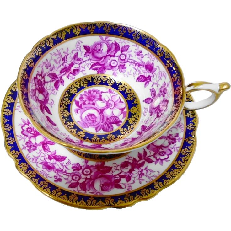 Paragon Purple Rose daisy Cobalt tea cup and saucer