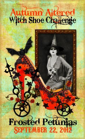 Altered Witch Shoe Challenge: Decor Ideas, Halloween Witch, Witch Shoes, Altered Shoes, Altered Witch, Autumn Altered, Shoes Challenges, Frostings Petunias, Halloween Art