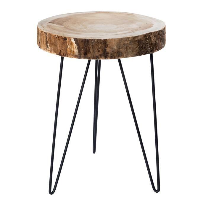 Bijzettafel Avila met zwarte metalen poten en houten blad. Hoogte: 45 cm. Doorsnede: 33 cm.