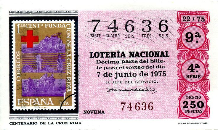 Billete de lotería: Centenario de la Cruz Roja (Loteria Nacional (Spain), España) (1975 La Filatelia) Col:LN-SP-75-22