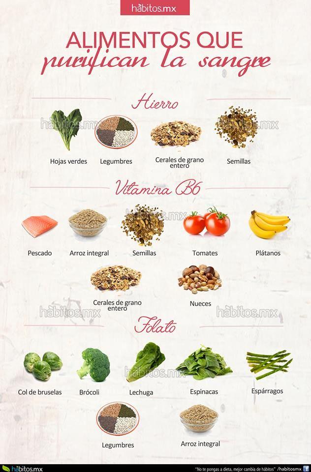 Alimentos que nos ayudan a PURIFICAR NUSTRA SANGRE Necesitamos alimentos que contengan HIERRO como: – Hojas verdes – Legumbres – Cereales de grano – Semillas Alimentos con VITAMINA B6: – Pescado -Arroz integral -Semillas -Tomates -Plátanos -Cereales de grano entero -Nueces
