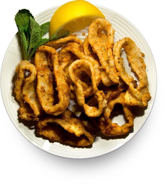 Жареный кальмар (Καλαμαράκια, Kalamarakia, Fried Calamari)