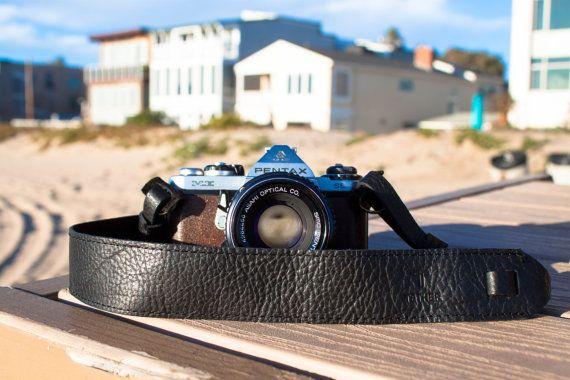 Black Leather Camera Strap for DSLR or SLR camera, DSLR Camera Strap. Camera accessories. Canon camera strap. Nikon camera strap.