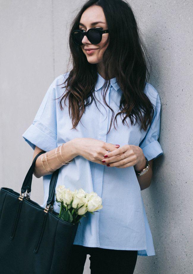wanted une chemise trapze en popeline bleu ciel blog the fashion cuisine