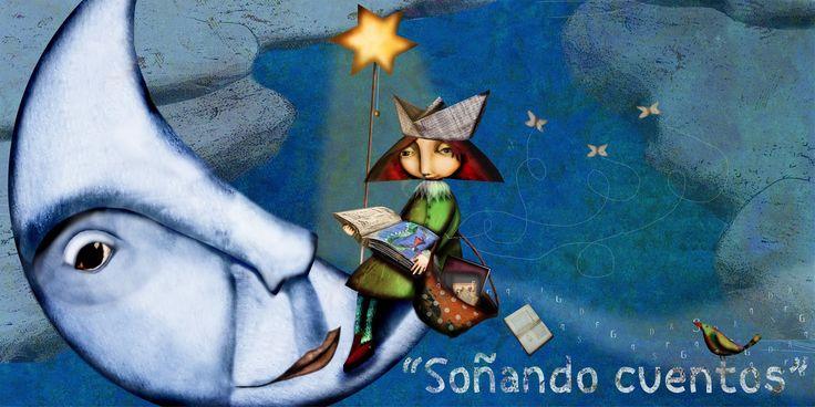 Catalina, la niña que le cuenta cuentos a la luna...Idea de Soñando cuentos.y Raquel Diaz Reguera.