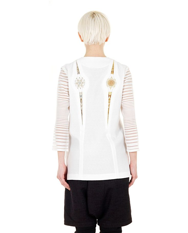 YOHANIX White jacket deep V-neck  3/4 sleeves with silk details front and back embroidery front one-button closure 50% PL 50% AC  95% PL 5% SE