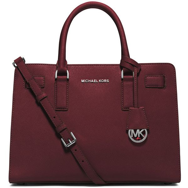 MICHAEL Michael Kors Dillon East-West Saffiano Satchel Bag ($298) ❤ liked on Polyvore featuring bags, handbags, merlot, satchel style purse, satchel bag, circle purse, zipper purse and red bag