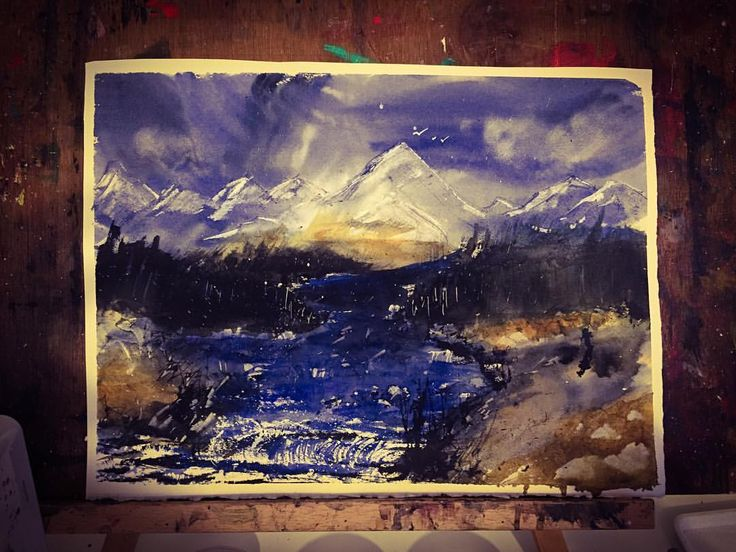 """Rapids - inspired by """"Steven Cronin"""" #mountain #lake #dramatic #abstract #watercolor #painting #art #artwork #instagood #artist #watercolorart #watercolourart #style #artoftheday #inspiring_watercolors #pretty #dream #creativity #cloudy #inspiration #view #scene #blue #sky #watercolour #inspired"""