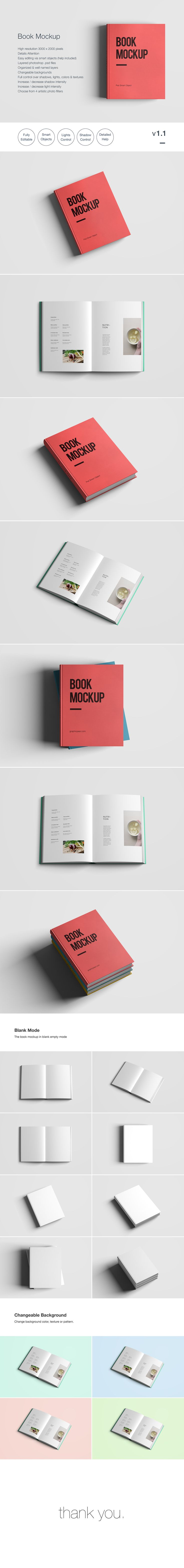 A Free Psd Book Mockup Template For Realistic Printed Book Presentation  Photoshop Format Easy To