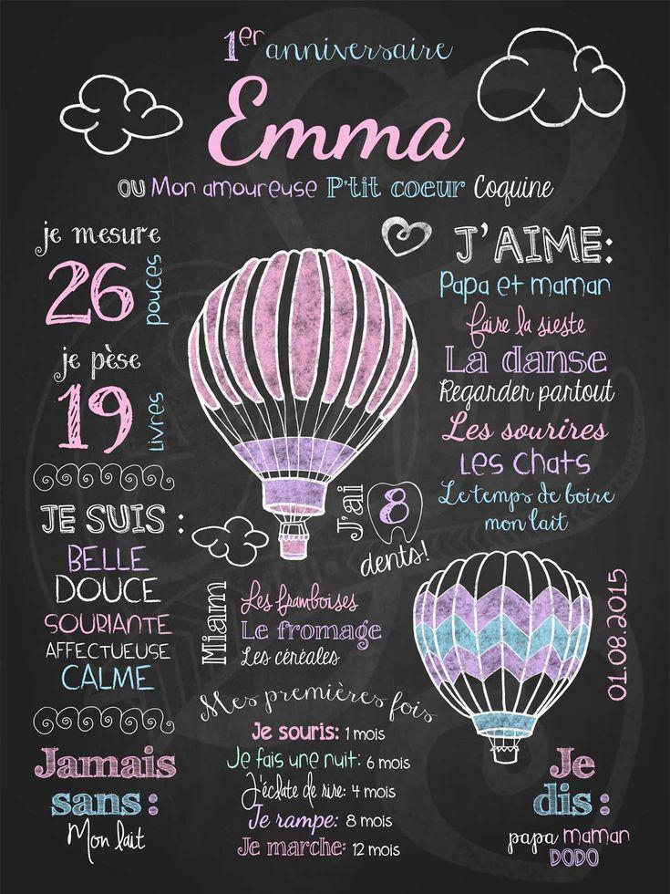 Affiche personnalisée 1er anniversaire Tour de ballons (rose) | 28,00$ #chalkboard #lacraieco #montgolfiere