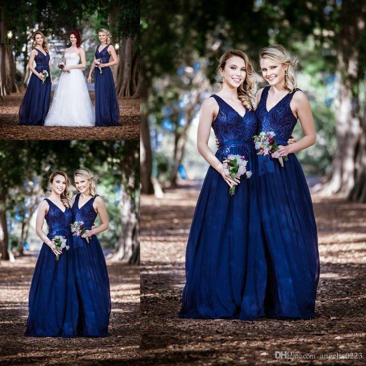 Navy Blue Long Bridesmaid Dresses 2016 Sequin Deep V Neck A Line Chiffon Bridesmaids Maid Of Honors Cheap Wedding Party Gowns Bridesmaids Dresses Australia Cheap Chiffon Bridesmaid Dresses From Angelia0223, $152.14| Dhgate.Com