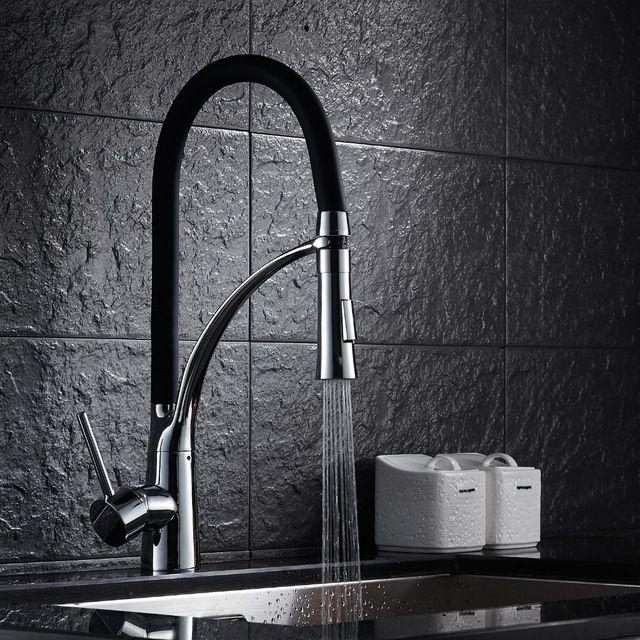 Siyah ve Krom Evye Bataryası Güverte Dağı Çekme Out Çift Püskürtme Memesi Sıcak ve Soğuk Mikser lavabo Su musluklar