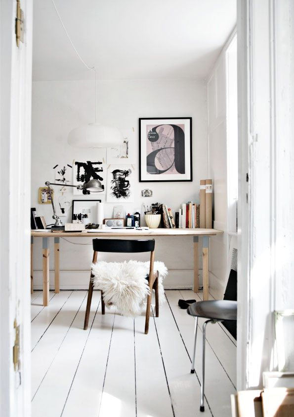 home office corner | poster by Louise Breyen | Photo Pernille Enoch