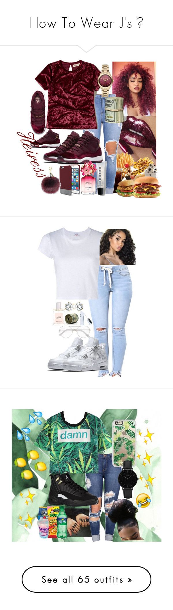 """How To Wear J's ✨"" by bxbysnoop ❤ liked on Polyvore featuring NIKE, Original Penguin, Bobbi Brown Cosmetics, Hollister Co., Karl Lagerfeld, Marc Jacobs, Chloé, West Coast Jewelry, RE/DONE and philosophy"