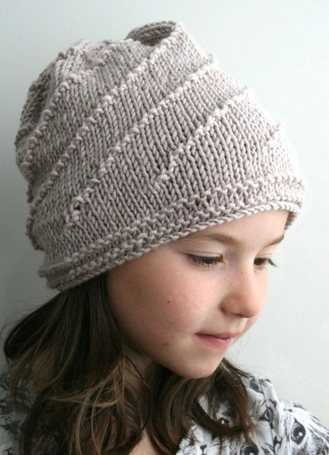 Knitting Pattern for Swirl Slouchy Unisex Hat - In sizes for the whole family from toddler to adult, this slouchy beanie is a fast easy knit.