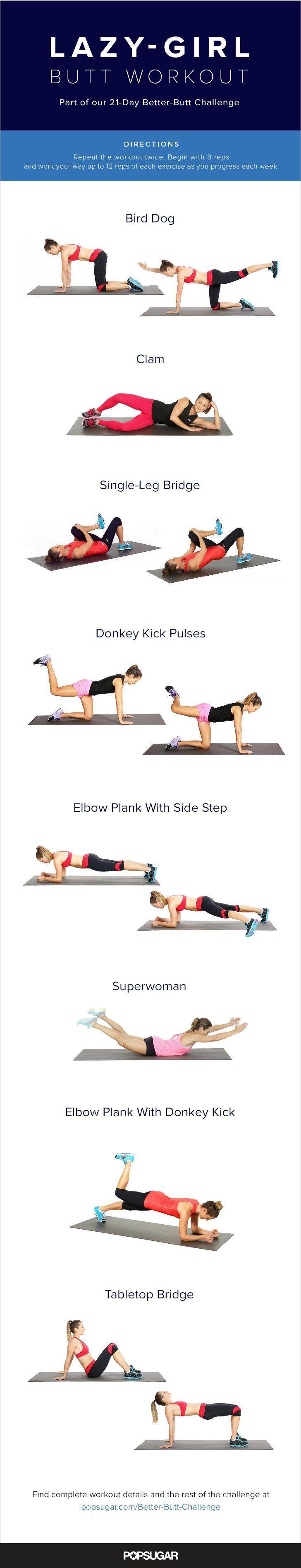 Schöner Po in 10 min täglich für faule Mädchen *** quick and easy 10 min lazy girl butt workout