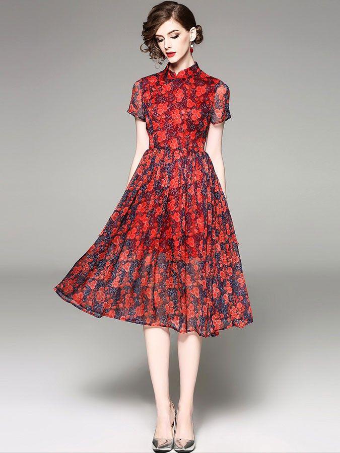 Red Floral Slik A-Line Qipao / Cheongsam Dress