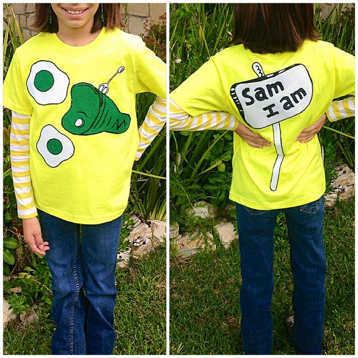 Green Eggs and Ham / Sam I am shirt.  Materials used: $4 Walmart  boys Hanes shirt, white, green & red felt fabric (red hair bow), white & black puffy paint, template made from card stock paper & my trusty glue gun to put it together. Cost under $8 to make. #greeneggsandham #samiam