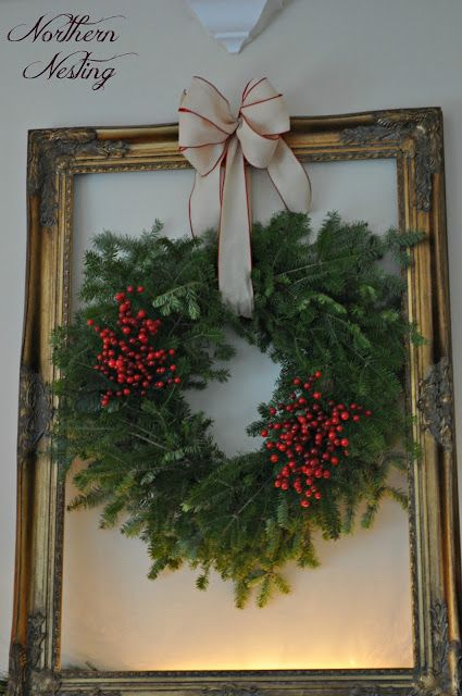 Christmas greenery wreath with red berries, by Northern Nesting
