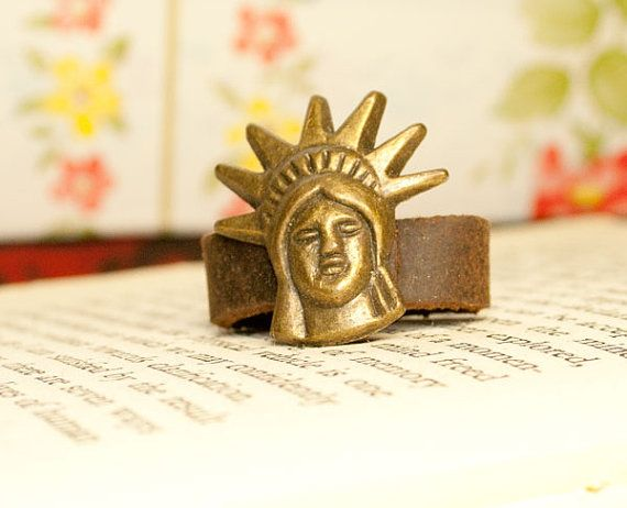 statue of liberty brass ring size adjustable by rabbitsillusions