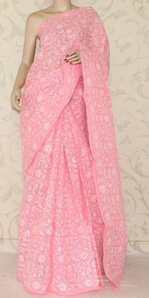 Lucknowi Chikan Saree (W/B-Cotton) 12891